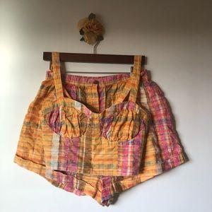 FREE PEOPLE plaid matching crop top & shorts sz 8!